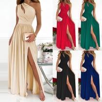 Sexy One-shoulder Slit Hem High Waist Party Dress