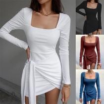 Sexy Square Collar Long Sleeve Irregular Hem Lace-up Slim Fit Dress