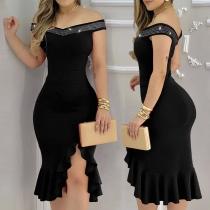 Sexy Rhinestone Spliced Boat Neck Irregular Slit Hem Slim Fit Party Dress