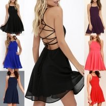 Sexy Backless High Waist Solid Color Sling Chiffon Dress