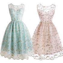 Sexy Sleeveless Round Neck High Waist Gauze Spliced Embroidered Dress