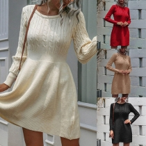 Simple Style Long Sleeve Round Neck Solid Color High Waist Knit Dress