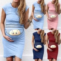 Cute Cartoon Baby Pattern Sleeveless Round Neck Maternity Dress