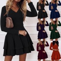 Elegant Solid Color Long Sleeve V-neck Dual-layer Hem Solid Color Dress