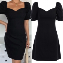 Fashion Puff Sleeve Square Collar High Waist Solid Color Slim Fit Dress