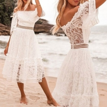 Sexy Off-shoulder Boat neck Trumpet Sleeve High Waist Lace Dress