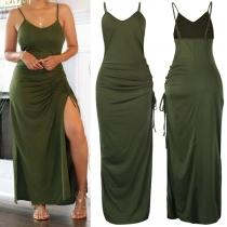 Sexy Backless V-neck Slit Hem Solid Color Slim Fit Sling Dress