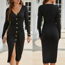 Sexy V-neck Slit Hem Long Sleeve Single-breasted Slim Fit Dress