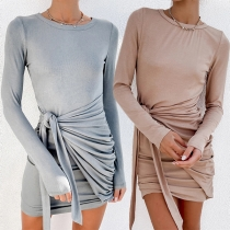 Fashion Solid Color Long Sleeve Round Neck Slim Fit Lace-up Dress