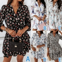 Fresh Style Long Sleeve V-neck Dual-layer Hem Printed Dress