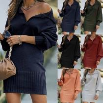 Fashion Solid Color Long Sleeve Lapel Slim Fit Knit Dress