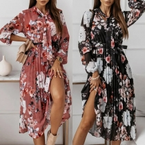 Sweet Style Lace-up Bow-knot Collar Long Sleeve Printed Pleated Chiffon Dress