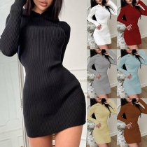 Simple Style Long Sleeve Hooded Solid Color Slim Fit Knit Dress