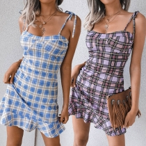 Sexy Backless Ruffle Hem Slim Fit Sling Plaid Dress