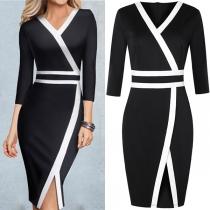 Sexy V-neck Slit Hem Half Sleeve Contrast Color Slim Fit Dress