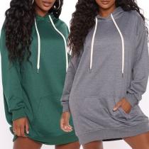 Casual Style Long Sleeve Hooded Solid Color Loose Sweatshirt Dress