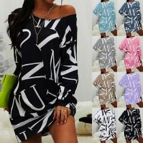 Fashion Letters Printed Long Sleeve Round Neck Loose Sweatshirt Dress