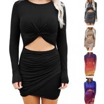 Sexy Hollow Out High Waist Irregular Hem Twisted Tight Dress