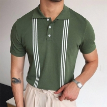 Fashion Striped Spliced Short Sleeve POLO Collar Man's T-shirt