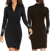Elegant Solid Color Rhinestone Cuff Long Sleeve V-neck Slim Fit Dress