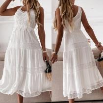Fashion Sleeveless V-neck High Waist Lace Spliced Summer Dress