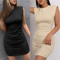 Simple Style Sleeveless Round Neck Solid Color Wrinkled Tight Dress