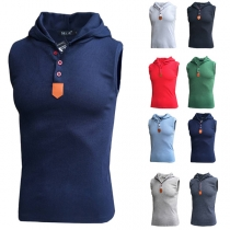 Casual Style Sleeveless Solid Color Hooded Man's Tank Top