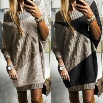 Fashion Contrast Color Long Sleeve Oblique Shoulder Sweater Dress