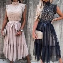 Sexy Lace Spliced Sleeveless Mock Neck High Waist Dress