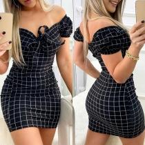 Sexy Off-shoulder Boat Neck Short Sleeve Slim Fit Plaid Dress