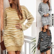 Fashion Lantern Sleeve Round Neck Stripe Knit Dress