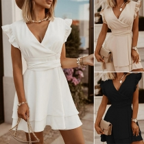Sexy V-neck Ruffle Cuff Solid Color Lace-up Bow-knot High Waist Dress