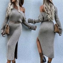 Sexy Oblique Shoulder Long Sleeve Slit Hem Solid Color Slim Fit Knit Dress