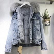Fashion Faux Fur Spliced Detachable Hooded Plush Lining Denim Coat