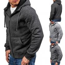 Fashion Solid Color Long Sleeve Hooded Man's Casual Sweatshirt Jacket