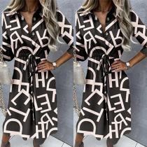 OL Style 3/4 Sleeve POLO Collar Drawstring Waist Printed Shirt Dress
