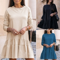 Simple Style Long Sleeve Round Neck Ruffle Hem Solid Color Loose Dress