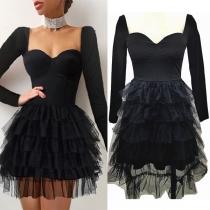 Sexy Square Collar Gauze Spliced Hem Long Sleeve High Waist Dress