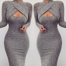 Sexy Crossover Hollow Out Long Sleeve Solid Color Tight Dress
