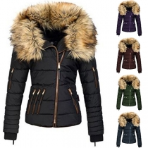 Fashion Faux Fur Spliced Hooded Oblique-zipper Slim Fit Padded Coat