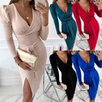 Sexy Deep V-neck Slit Hem Long Sleeve Solid Color Slim Fit Tie-belt Dress