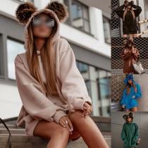 Cute Faux Fur Spliced Cat Ear Shaped Hooded Long Sleeve Loose Sweatshirt Dress