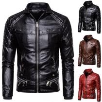 Fashion Detachable Faux Fur Collar Long Sleeve Slim Fit PU Leather Coat