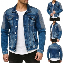 Fashion Contrast Color Patch Long Sleeve POLO Collar Single-breasted Man's Denim Coat