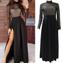Sexy See-through Gauze Spliced Long Sleeve Mock Neck Slit Hem High Waist Dress