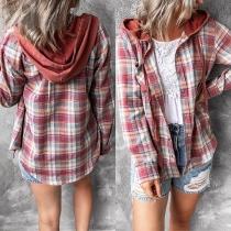 Casual Style Long Sleeve Hooded Loose Plaid Shirt Cardigan
