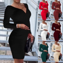 Sexy V-neck Long Sleeve Solid Color Slim Fit Dress