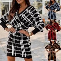 Sexy Backless V-neck Dolman Sleeve Slim Fit Knit Plaid Dress