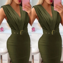 Sexy V-neck Sleeveless High Waist Solid Color Slim Fit Dress with Waistband