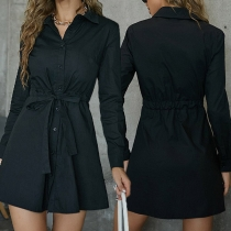 OL Style Long Sleeve POLO Collar Single-breasted Tie-belt Shirt Dress